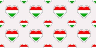 匈牙利旗子无缝的样式 传染媒介匈牙利语下垂stikers 爱心脏标志 语言课的背景,运动栏 库存例证