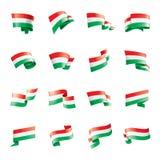 匈牙利旗子,在白色背景的传染媒介例证 库存例证