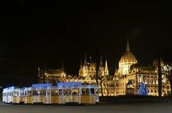 匈牙利晚上议会 库存照片