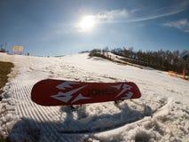 匈牙利滑雪公园雪板 库存照片