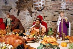 从匈牙利的历史场面有蜡雕象的 免版税库存照片