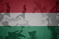匈牙利的旗子卡其色的纹理的 装甲攻击机体关闭概念标志绿色m4a1军用步枪s射击了数据条工作室作战u 图库摄影