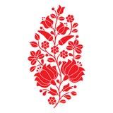 匈牙利红色民间样式-与花和辣椒粉的Kalocsai刺绣 图库摄影
