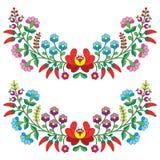 匈牙利花卉民间样式-与花和辣椒粉的Kaloscai刺绣 向量例证