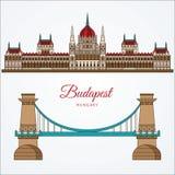 匈牙利议会大厦和铁锁式桥梁 布达佩斯,匈牙利的标志 图库摄影