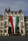 匈牙利议会大厦在布达佩斯,匈牙利, 2015年10月23日 免版税库存图片