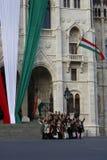 匈牙利议会大厦在布达佩斯,匈牙利, 2015年10月23日 免版税图库摄影