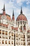 匈牙利议会大厦在布达佩斯,匈牙利,细节场面 库存图片