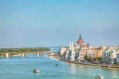 匈牙利议会大厦在布达佩斯,匈牙利 免版税图库摄影