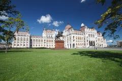匈牙利议会大厦的美丽的景色在布达佩斯 库存图片