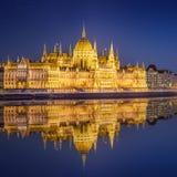 匈牙利议会大厦,布达佩斯看法  免版税库存图片