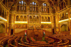 匈牙利议会布达佩斯会议室 免版税图库摄影