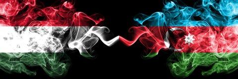 匈牙利,匈牙利语,阿塞拜疆竞争厚实的五颜六色的发烟性旗子 欧洲橄榄球资格比赛 向量例证
