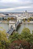 匈牙利,在布达佩斯市的看法, Szechenyi铁锁式桥梁和 免版税库存图片