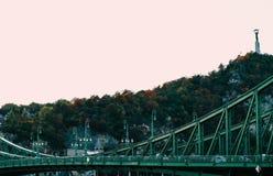 匈牙利,布达佩斯,一部分的绿色自由桥梁 欧洲ol 图库摄影