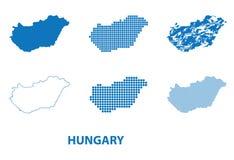 匈牙利-剪影传染媒介套的地图用不同的样式 图库摄影