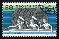 匈牙利-大约1976在匈牙利打印的A邮票显示与题字蒙特利尔的奥林匹克奖牌,大约1976年 免版税库存图片