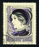 匈牙利-大约1980年:在匈牙利打印的邮票显示画象马尔吉特Kaffka作家,大约1980年 免版税图库摄影