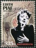 匈牙利- 2015年:展示伊迪丝Piaf 1915-1963,歌手 免版税库存照片