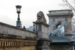 匈牙利- 2017年12月21日:铁锁式桥梁布达佩斯 免版税库存照片