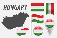 匈牙利 标志的汇集在颜色国旗的在白色背景隔绝的各种各样的对象 旗子,尖,按钮, 皇族释放例证