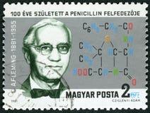 匈牙利- 1981年:展示亚历山大・弗莱明1881-1955,青霉素的发现者先生 免版税库存图片