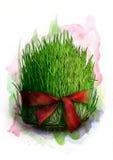 绿化与红色丝带的发芽的麦子种子, Novruz Bayram - semeni,剪影的一个传统标志 皇族释放例证
