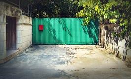 绿化在被风化的白色墙壁的被绘的葡萄酒木门 图库摄影