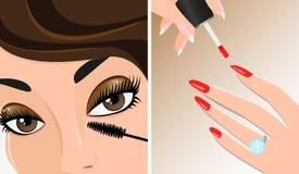 化妆两次例证、染睫毛油和指甲油 免版税库存图片