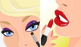 化妆两次例证、红色唇膏和紫罗兰色眼影 免版税库存图片
