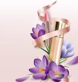 化妆产品、基础、concealer、creamwith唇膏和花番红花 秀丽和化妆用品背景 库存图片
