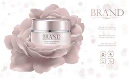 化妆产品广告,美丽的容器 免版税库存照片
