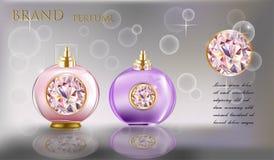 化妆产品玻璃,桃红色和紫色颜色 免版税库存照片