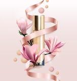 化妆产品,基础, concealer,与花的奶油 有花木兰的美丽的瓶 向量 库存照片