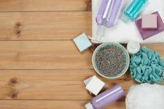化妆品集合 肥皂酒吧和液体 干淡紫色瓣 Shampo 库存图片