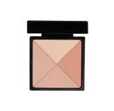 化妆在白色隔绝的黑匣子的棕色粉末 库存图片