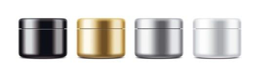 化妆奶油或胶凝体的清楚的瓶子大模型 Gold&Silver, Black&White彩色组 免版税库存照片