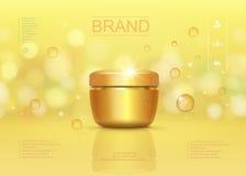 化妆奶油色容器模板,有闪耀的背景和金黄下落元素 库存照片