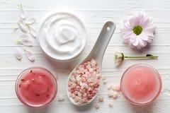 化妆奶油,阵雨胶凝体,身体洗刷和腌制槽用食盐 免版税库存照片