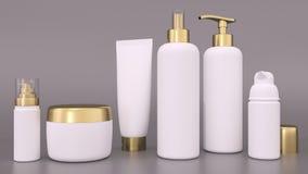 化妆容器的ealistic 3D翻译大模型为提取乳脂和补剂瓶 瓶和管,关心皮肤的补剂奶油 向量例证