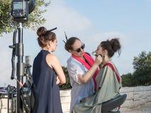化妆师在射击做模型的构成在Mt前 Scopus在耶路撒冷在以色列 免版税库存图片