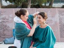 化妆师在射击做模型的构成在Mt前 Scopus在耶路撒冷在以色列 库存图片