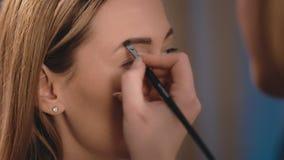 化妆师得出并且导致眼眉形状有一把专业刷子的在一个白种人白肤金发的模型的面孔 股票录像