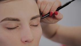 化妆师申请专业构成于一美丽的少女 在构成的新理念 股票录像