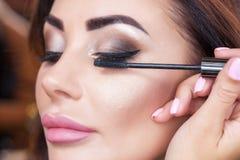 化妆师绘睫毛给有染睫毛油的一个美丽的女孩 库存图片