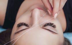 化妆师采她的有螺纹特写镜头的眼眉 免版税库存图片