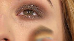 化妆师,妇女少年面孔与组成 影视素材
