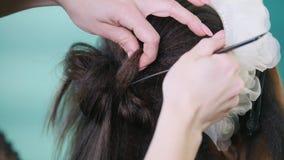 化妆师,工作与美容院的客户的美发师,塑造由烫发钳卷曲 股票录像