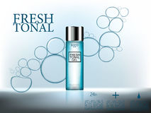 化妆广告, 3d优质化妆用品装瓶与水泡影的胶凝体在抽象蓝色表面背景 免版税库存照片