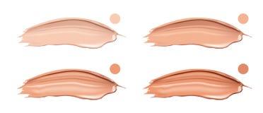 化妆液体粉底霜集合用不同的颜色污点污迹冲程 组成被隔绝的污迹在白色 皇族释放例证